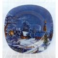 Красива стъклена коледна чиния със зимен пейзаж