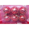 Коледни топки в комплект - червени със златиста спирала