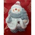 Коледен свещник от керамика - снежно човече
