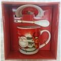 Коледна чаша с чинийка и лъжичка - Дядо Коледа и еленче