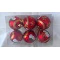 Комплект червени коледни топки с декорация-снежно човече