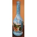 Коледна бутилка със звънчета в син цвят